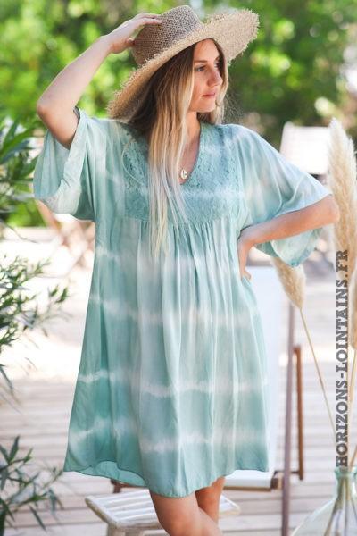 Robe-vert-eau-tie-and-dye-haut-dentelle-vêtement-femme-bohème-esprit-hippie-D074