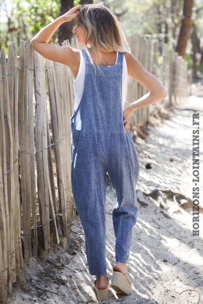 Salopette-fluide-bleu-jean-moitié-coton-lin-bretelles-noeuds-salopettes-femme-D017