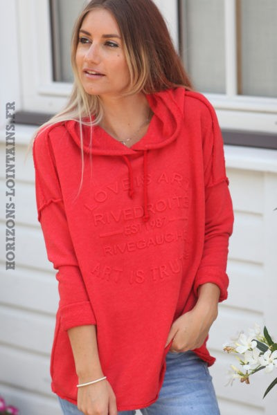 Sweat-à-capuche-rouge-confort-message-en-relief-d032 5