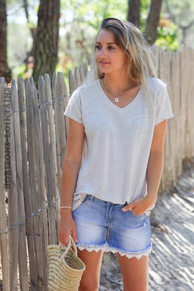 Tshirt-beige-col-V-basique-en-lin-d129