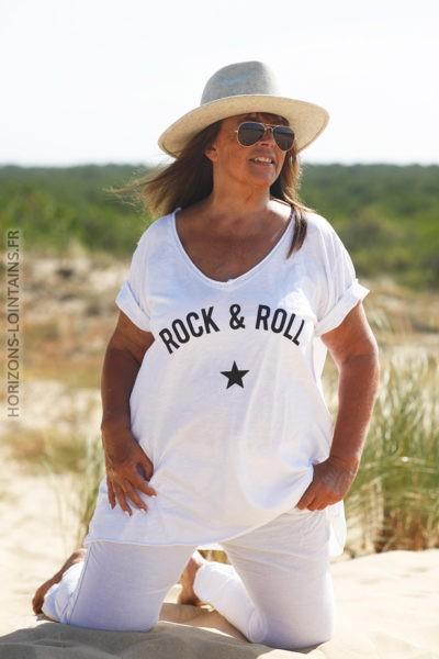 Tshirt blanc du 40 au 50 rock and roll D134 3
