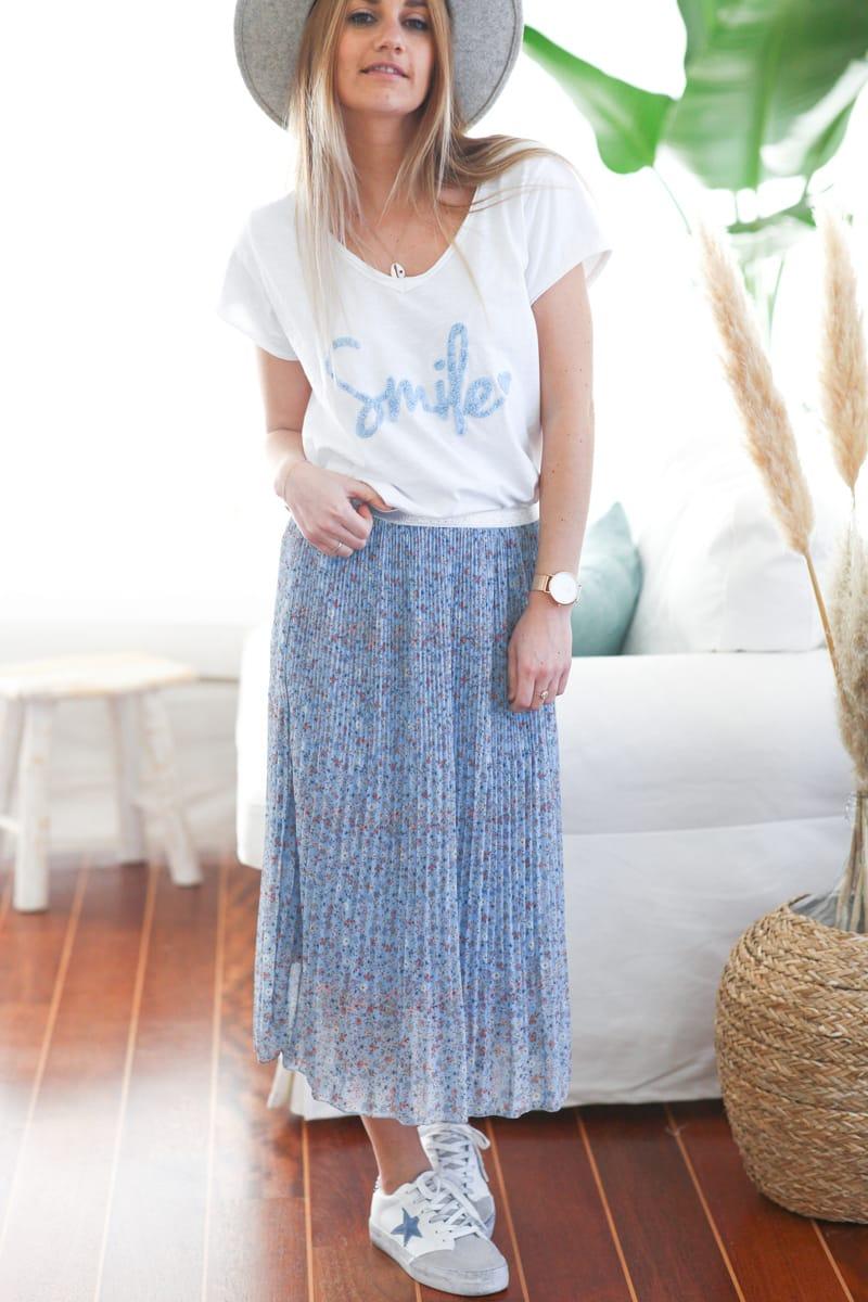 Tshirt blanc en coton manches courtes smile bleu ciel d060 (1)