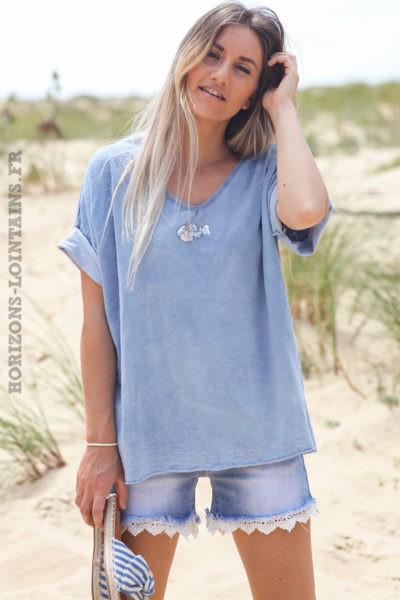 Tshirt-bleu-jean-clair-délavé-poisson-sequins-argentés-teeshirt-femme-tendance-D094