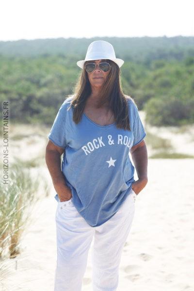 Tshirt bleu jean clair du 40 au 50 rock and roll D134 2