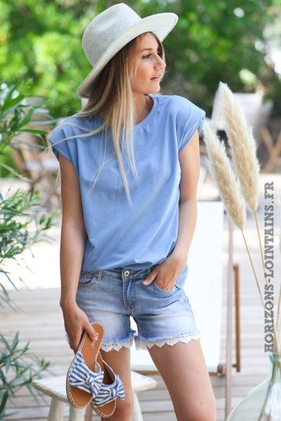 Tshirt-bleu-lavande-col-rond-avec-épaulettes-teeshirt-femme-tendance-D124