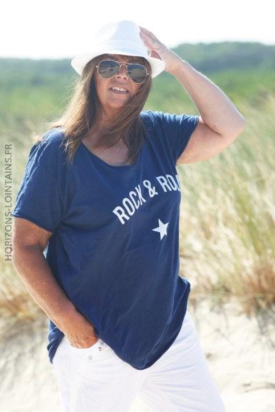 Tshirt bleu marine du 40 au 50 rock and roll D134 2