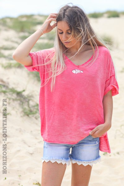 Tshirt-corail-délavé-poisson-sequins-argentés-teeshirt-femme-tendance-D094