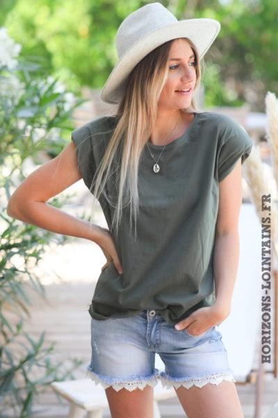 Tshirt-kaki-col-rond-avec-épaulettes-teeshirt-femme-tendance-D124