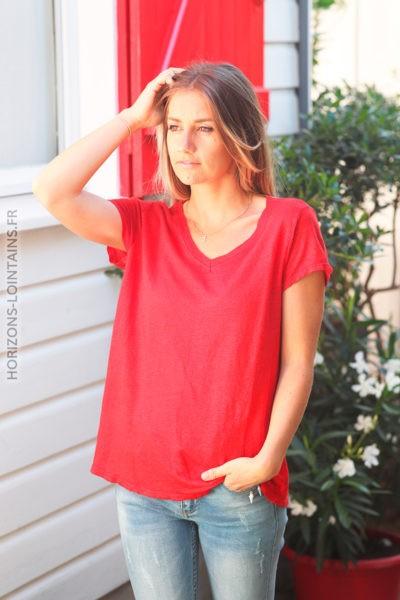 Tshirt rouge col V basique en lin D129 2