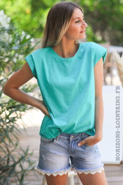 Tshirt-turquoise-col-rond-avec-épaulettes-teeshirt-femme-tendance-D124