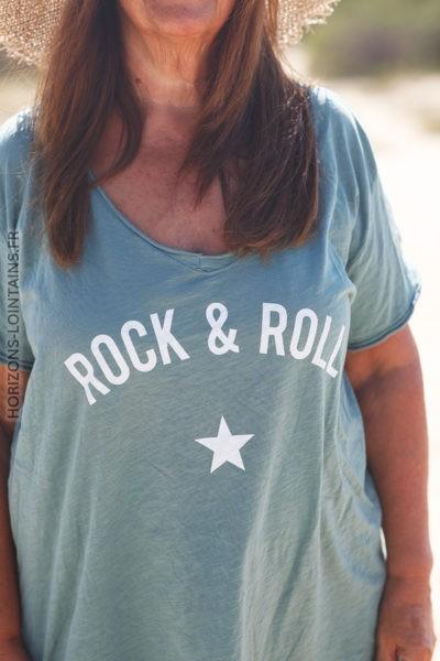 Tshirt vert céladon du 40 au 50 rock and roll D134 2