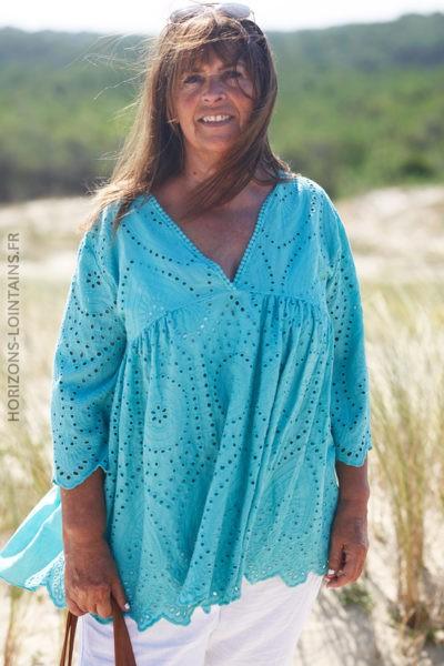 Tunique turquoise clair coton avec broderie anglaise et petites manches D104 2