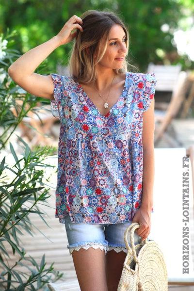 blouse-imprimé-graphique-bleu-TOP-D128