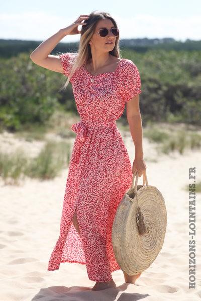 robe-longue-rouge-paquerette-fleurs-vêtements-hippie-look-bohème-D061