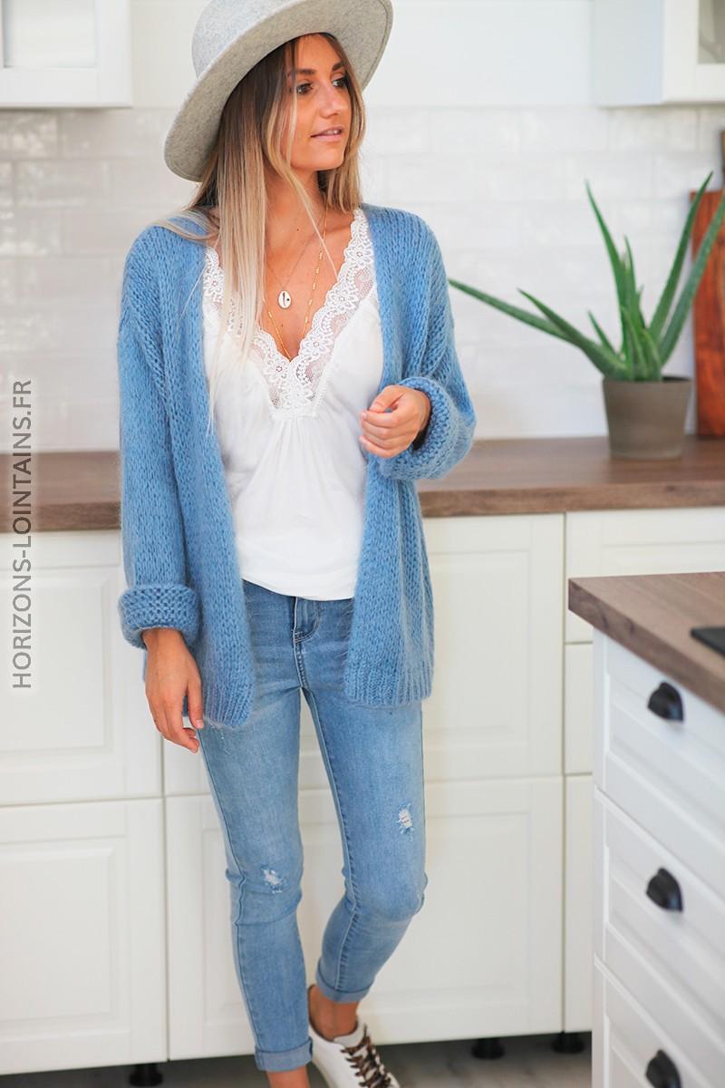 Gilet bleu jean clair grosses mailles C20 1