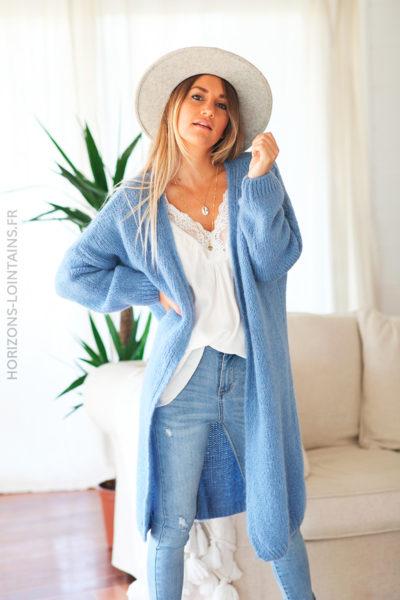 Gilet long bleu jean grosses mailles D11 (1)