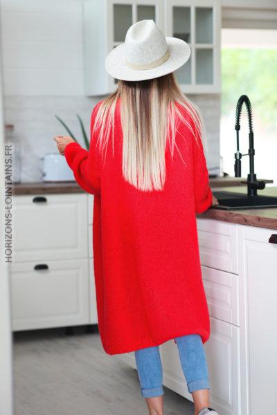 Gilet long rouge grosses mailles D11 (1)