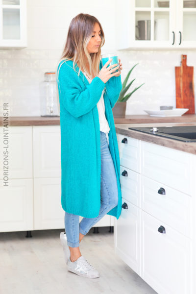 Gilet long turquoise grosses mailles D11 (1)