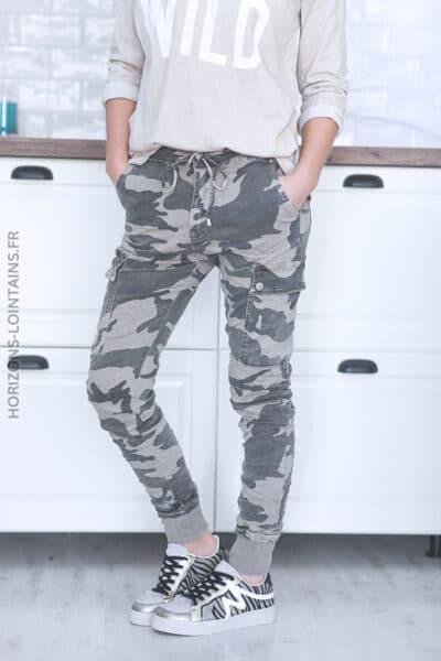 Pantalon cargo camo beige avec ceinture élastique C34 (1)