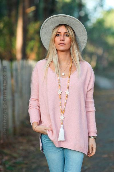 Pull-basique-rose-poudré-col-V-vêtement-femme-pulls-doux-D001-02