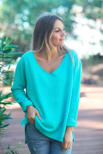 Pull basique tout doux turquoise clair col V D001 2