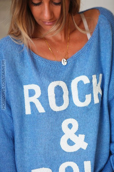 Pull bleu jean rock and roll D144 2 (2)
