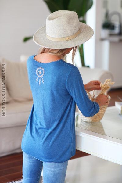 Pull doux bleu jean clair dreamcatcher en sequins dos D143 (1)