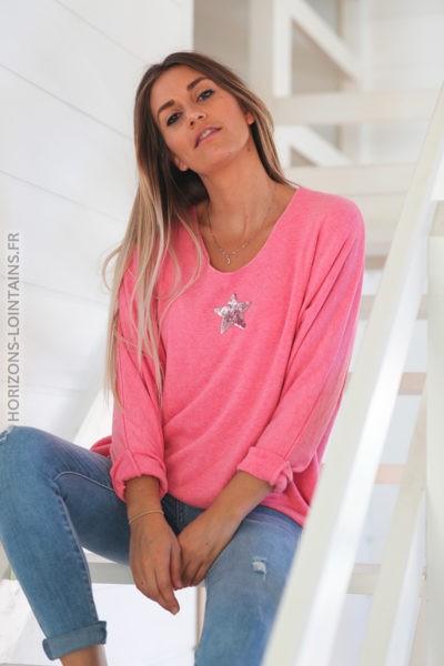 Pull pink col v petite étoile sequins C176 2