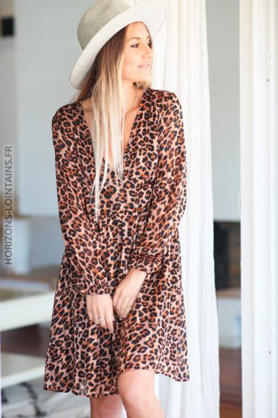 Robe camel imprimé léopard avec liserés brillants D105 (1)