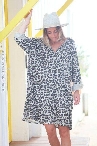 Robe col chemise imprimé léopard d100 2