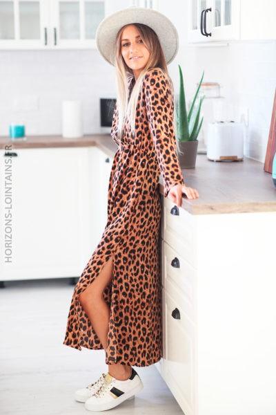 Robe milongue camel imprimé léopard D101 1