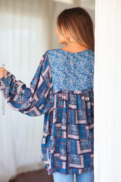 Tunique bleu jean motifs fleuris graphiques D146 (1)
