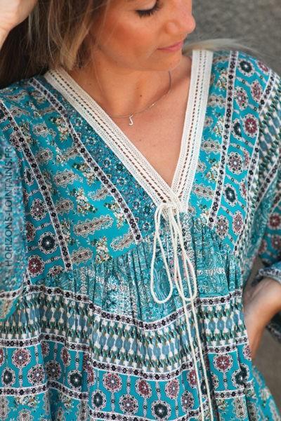 Tunique turquoise motifs cachemire avec col dentelle d139 2