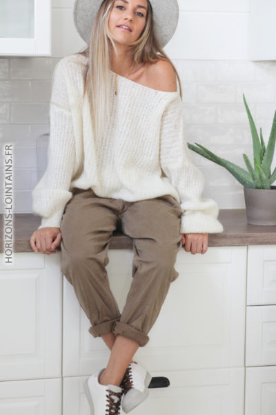 Pantalon soft touch taupe