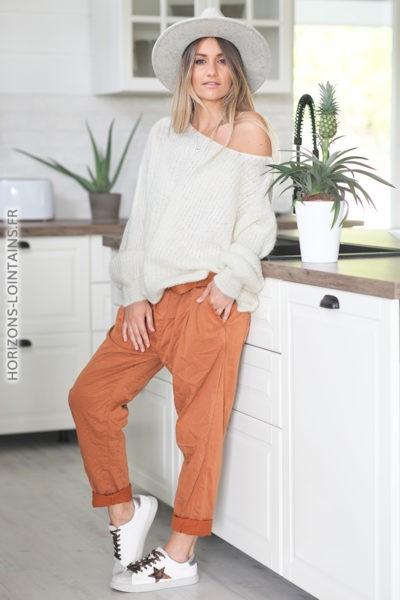 Pantalon soft touch terracotta