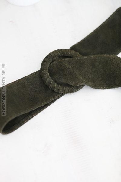 Ceinture kaki en cuir velours avec boucle D002 (1)