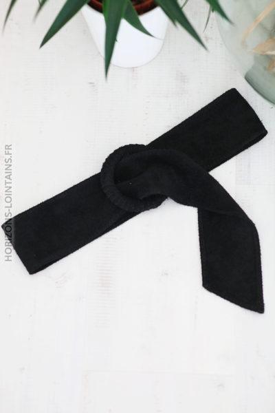 Ceinture noir en cuir velours avec boucle D002 (2)