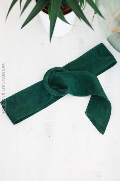 Ceinture vert bouteille en cuir velours avec boucle D002 (1)