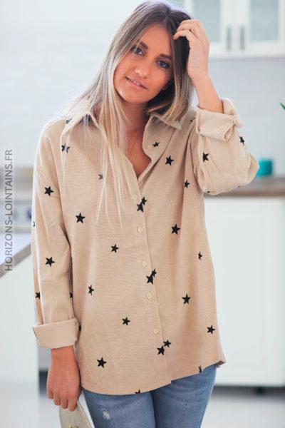 Chemise beige en velours avec petites étoiles noires D183 (1)