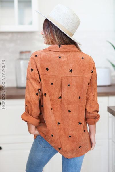 Chemise camel en velours avec petites étoiles noires D183 (1)
