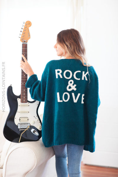 Gilet bleu canard rock and love D20 (1)