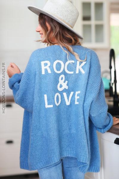 Gilet bleu jean rock and love D20 (1)