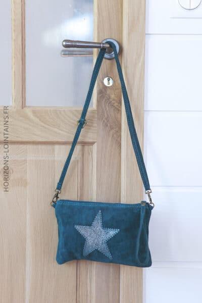 Pochette étoile en croûte de cuir bleu pétrole 001 (1)