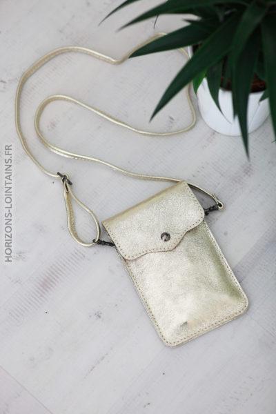 Pochette gold en cuir pratique pour l'essentiel D013 (1)