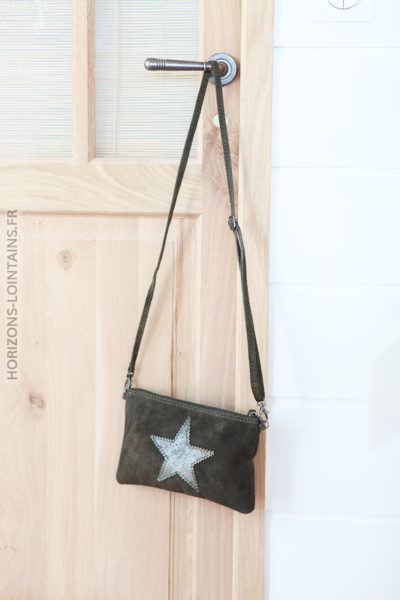 Pochette kaki cuir velours étoile pochette intérieur C37 (1)
