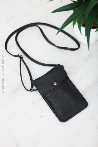 Pochette noir en cuir pratique pour l'essentiel D013 (1)