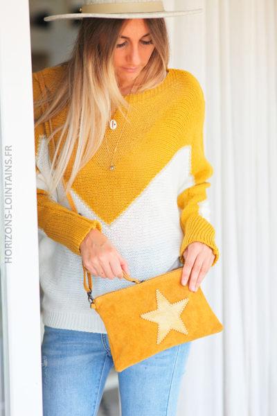 Pull bicolore écru et moutarde avec couture dorée D159 (1)