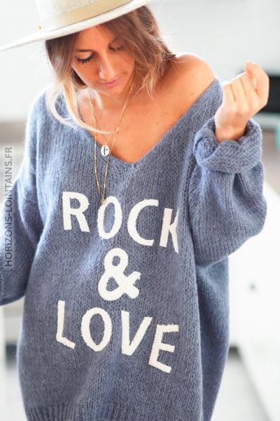 Pull bleu jean mailles col V rock and love D169 (1)