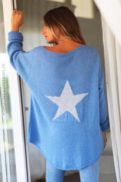 Pull loose bleu jean étoile argentée dos D148 (10)