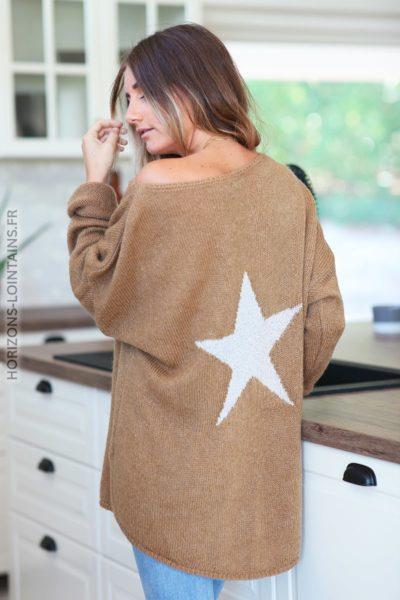 Pull loose camel étoile argentée dos D148 (10)